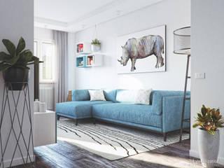 Blue Dream Apartment: Soggiorno in stile  di Eleonora Frosini
