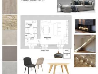 tavola di progetto: layout, arredi e finiture: Sala da pranzo in stile  di Silvana Barbato, StudioAtelier
