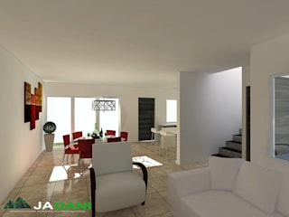 Casa Atzompa: Salas de estilo moderno por JADANI-ARQUITECTOS