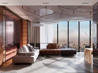 Апартаменты в башне ОКО, Moscow City Гостиные в эклектичном стиле от InteriorS4SeasonS Эклектичный