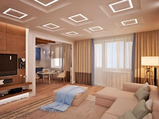 Квартира 104 кв.м в Москве на ул. Столетова: Гостиная в . Автор – InteriorS4SeasonS