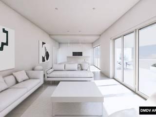 Bloque viviendas PASSIVHAUS Madrid. Arroyo del Fresno. Viviendas Loft PASSIVHAUS. Salón con terraza.: Salones de estilo minimalista de DMDV Arquitectos