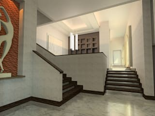 Residencia Cantú Pasillos, vestíbulos y escaleras modernos de Tierra Fría Moderno