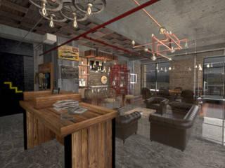 oficina centro comercial San-Roque :  de estilo industrial por jaguarq3destudio, Industrial