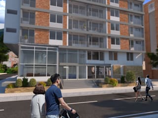 oficina centro comercial San-Roque : Conjunto residencial de estilo  por jaguarq3destudio, Moderno