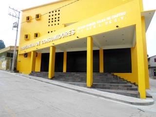 FACHADA 2: Oficinas y tiendas de estilo  por JERONIMO & SANTIAGO, ARQUITECTOS S.A. de  C.V.