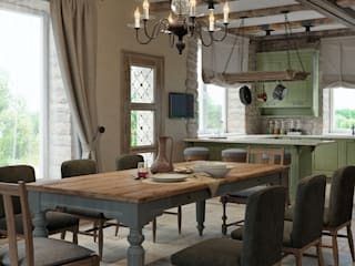 Dining room by EJ Studio, Mediterranean