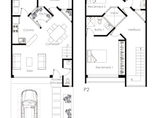 Plantas Arquitectónicas de Casa Habitación Cubo : Casas de estilo  por Soy Arquitectura