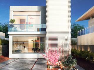 Render de Fachada Arquitectónica de Casa Cubo: Casas unifamiliares de estilo  por Soy Arquitectura