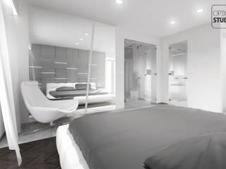 Nowoczesna sypialnia: styl , w kategorii Sypialnia zaprojektowany przez OptionSTUDIO Projektowanie wnętrz