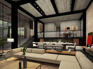 Paola Calzada Arquitectos Living room Concrete Grey
