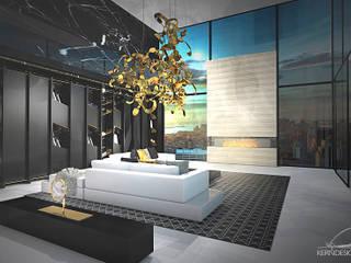 Wohnzimmer mit Galerie: moderne Wohnzimmer von KERN-DESIGN GmbH Innenarchitektur + Einrichtung