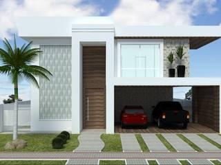Fachada Madeira e Concreto: Casas  por Andréa Generoso - Arquitetura e Construção