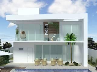 Fachada Madeira e Concreto: Terraços  por Andréa Generoso - Arquitetura e Construção