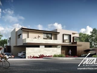 Fachada sin barda: Casas unifamiliares de estilo  por Lazza Arquitectos