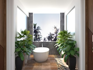 bathroom design with plants:   by Rhythm  And Emphasis Design Studio