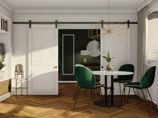 PROJEKT ELEGANCKIEGO NOWOCZESNEGO WNĘTRZA, Gdynia Śródmieście: styl , w kategorii Salon zaprojektowany przez STTYK - Pracownia Architektury Wnętrz i Krajobrazu,Eklektyczny