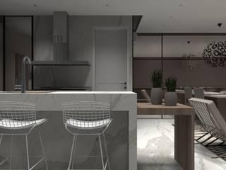 Apartamento Praia 1: Armários e bancadas de cozinha  por Designer Paula Daiane dos Santhos