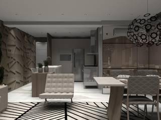 Apartamento Praia 2: Salas de jantar  por Designer Paula Daiane dos Santhos