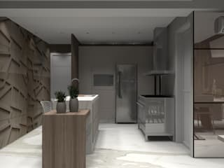 Apartamento Praia 3: Cozinhas embutidas  por Designer Paula Daiane dos Santhos