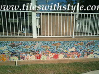 Tiles with Style Balcon, Veranda & Terrasse tropicaux Céramique Multicolore
