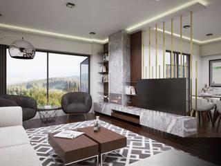 IN•AR Design / İç Mimarlık – MELDA - SERDAR YILMAZ / VİLLA PROJESİ:  tarz Oturma Odası
