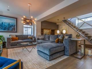 Sunken Bar and Living Room in Basement by Pfeiffer Design Ltd Modern