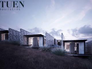 Exterior habitaciones: Bungalows de estilo  por Stuen Arquitectos