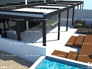The Pergotenda® Palladia by Corradi. Aluminium Pergola with automated, retractable roof.:  Patios by Corradi Outdoor Living Space