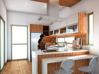 PERSPECTIVA INTERIOR DE COCINA: Muebles de cocinas de estilo  por AP Arquitectura