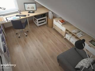 BIURO NA PODDASZU Skandynawskie domowe biuro i gabinet od Wzornik projektowy Skandynawski