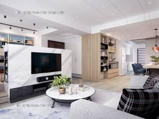 桃園黃宅 现代客厅設計點子、靈感 & 圖片 根據 鼎士達室內裝修企劃 現代風