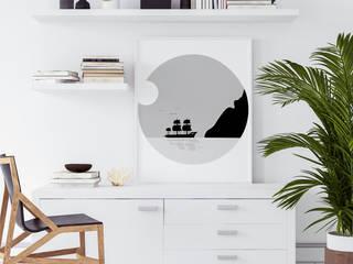 Minimalistyczna aranżacja domowego biura: styl , w kategorii  zaprojektowany przez MYLOVIEW
