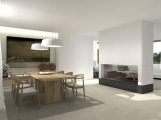 Una villa minimal ed elegante a Udine Sala da pranzo minimalista di interiorbe SRL Minimalista