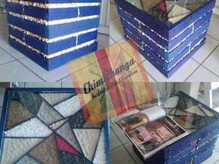 Mesa Ladrillo Full Blue:  de estilo  por Chimichanga Sustentabilidad Creativa