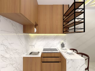 Interior Rumah Cutra Harmoni SEKALA Studio Dapur Modern Kayu Lapis Wood effect