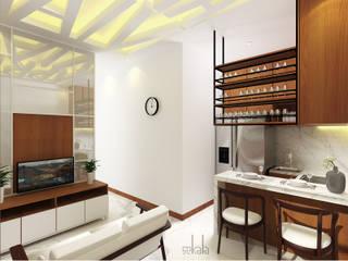Interior Rumah Cutra Harmoni SEKALA Studio Ruang Keluarga Modern Kayu Lapis Wood effect