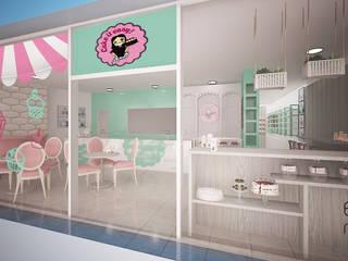 Projecto 3D - fachada de loja: Espaços de restauração  por Espaços Renovados