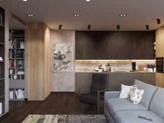 Квартира 140 кв.м. в современном стиле в ЖК Донской Олимп: Гостиная в . Автор – Студия архитектуры и дизайна Дарьи Ельниковой