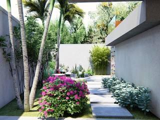 Pequeno refúgio: Jardins modernos por Trivisio Consultoria e Projetos em 3D