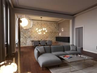 metamorfoza przestrzeni dziennej-mieszkanie Nowoczesny salon od Agata Pozowska, architektura wnętrz Nowoczesny