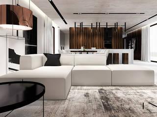 Projekt wnętrza nowoczesnego domu, Wrocław: styl , w kategorii Salon zaprojektowany przez IN studio projektowania wnętrz