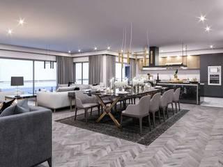Kalafatoglu Marina Residence Modern Oturma Odası VERO CONCEPT MİMARLIK Modern