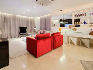 Apartamento por Arquiteto em Fortaleza: Salas de estar  por RI Arquitetura