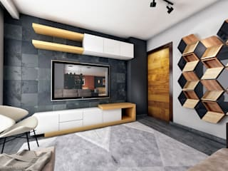 Apartment Interior in East Town Sodic Salas modernas de Zoning Architects Moderno