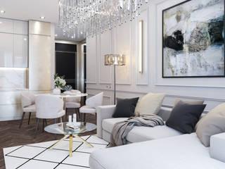 Интерьер квартиры в бежевых тонах: Гостиная в . Автор – IL design