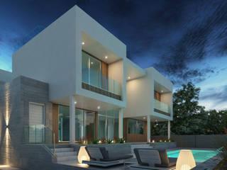 Fachada posterior - Pileta: Casas unifamiliares de estilo  por Arqed