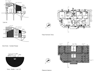 Fachada e Plantas: Casas familiares  por Arquiteto Ivan Rocha