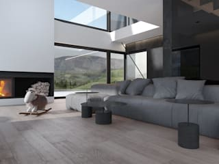 Projekt nowoczesnego wnętrza domu w Górkach Minimalistyczny salon od Mono architektura wnętrz Katowice Minimalistyczny