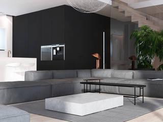Wnętrza domu w Chorzowie Minimalistyczny salon od Mono architektura wnętrz Katowice Minimalistyczny